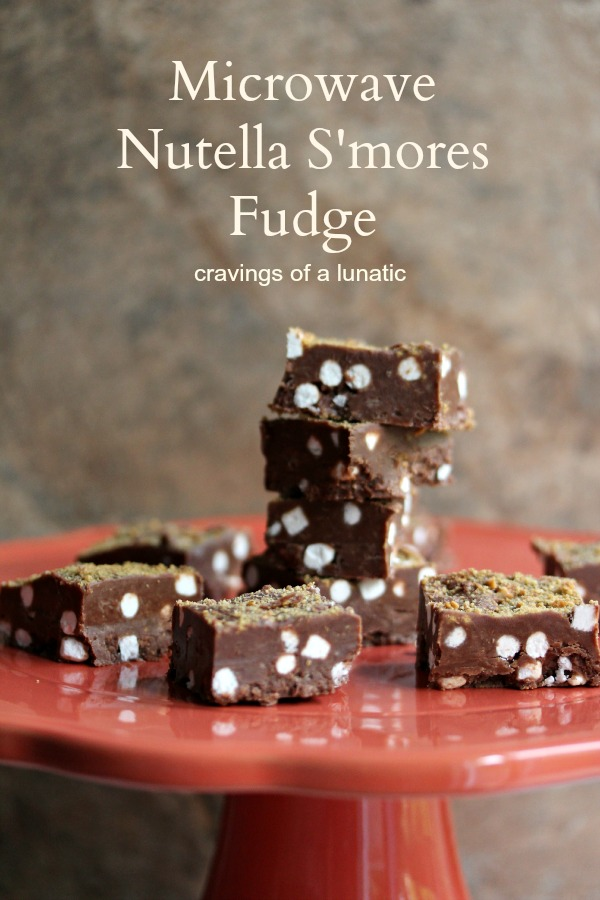 Microwave Nutella S'mores Fudge | Cravings of a Lunatic | #smores #nutella #fudge