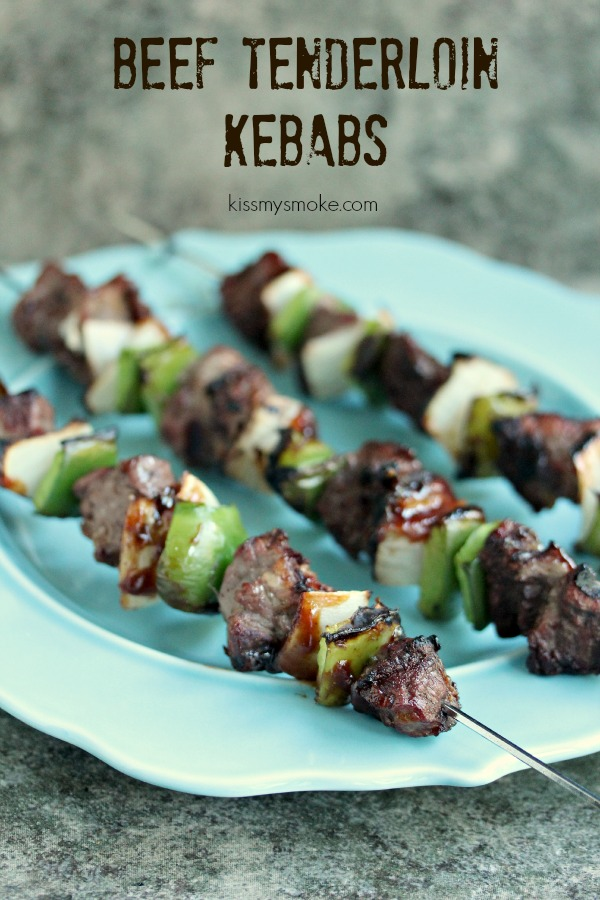 Tenderloin Kebabs with Green Pepper and Onion | Kiss My Smoke | #grill #bbq #beef #kebabs