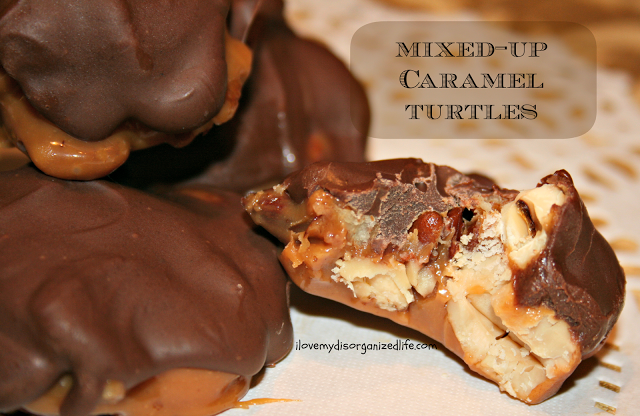 Mixed Up Caramel Turtles by I Love My Disorganized Life |  Featured on Cravings of a Lunatic's Turtles Recipe Round Up | #turtles #recipe #sweets #chocolate #caramel #pecans