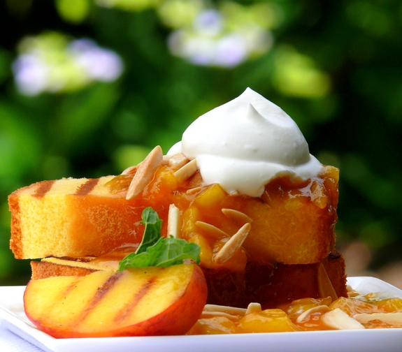 Grilled Pound Cake with Warm Peach Coulis and Chantilly Cream by Noble Pig