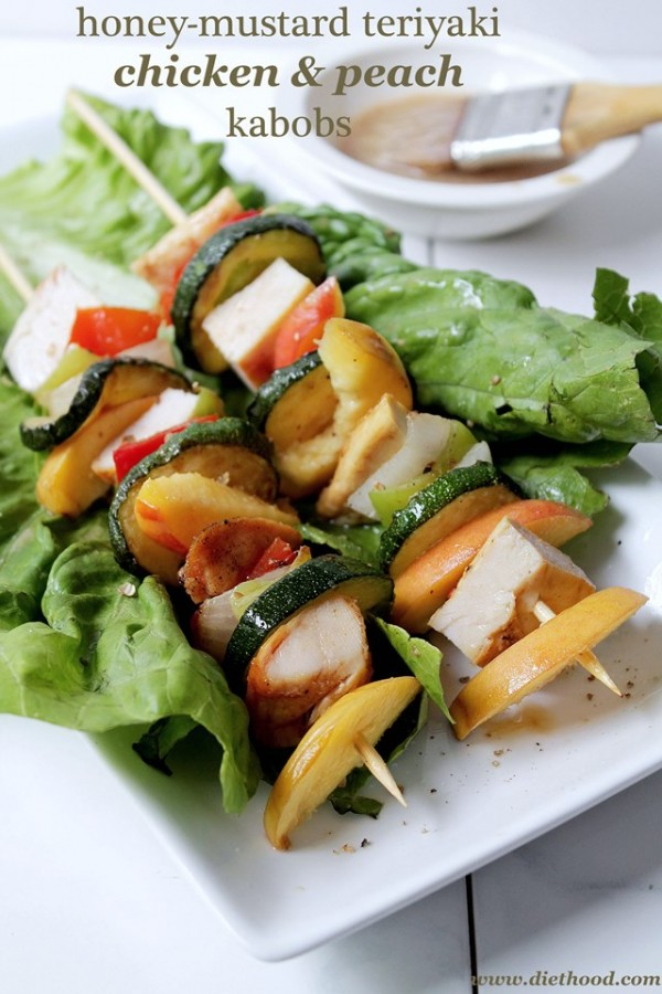 Honey Mustard Chicken Peach Kabobs by Diethood