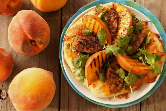 Grilled Peach and Chorizo Pizza by Cooking on the Weekends