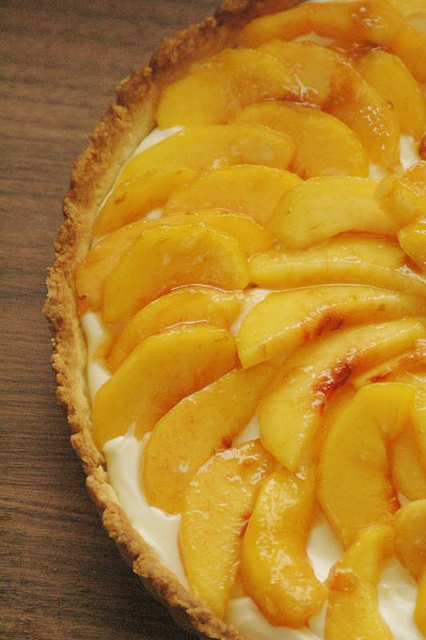 Sweet Mascarpone Peach Tart by The Adventure Bite