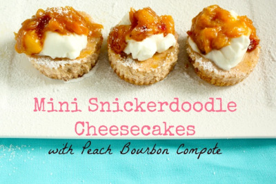 Mini Snickerdoodle Cheesecakes with Peach Bourbon Compote by What Jew Wanna Eat
