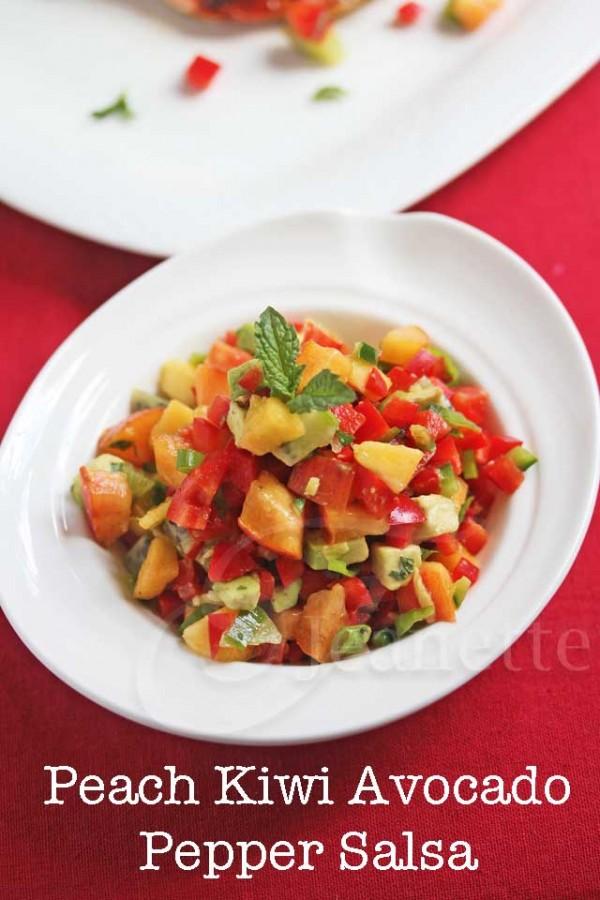 Peach Kiwi Avocado Pepper Salsa by Jeanette's Healthy Living