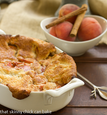 Peach Raspberry Cobbler by That Skinny Chick Can Bake