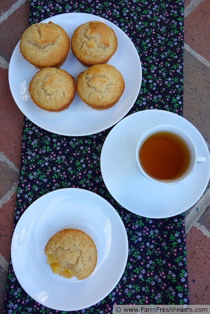 Peaches and Cream Muffins by Farm Fresh Feasts