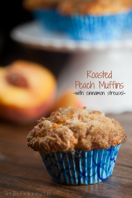 Roasted Peach Muffins with Cinnamon Streusel by Healthy Delicious