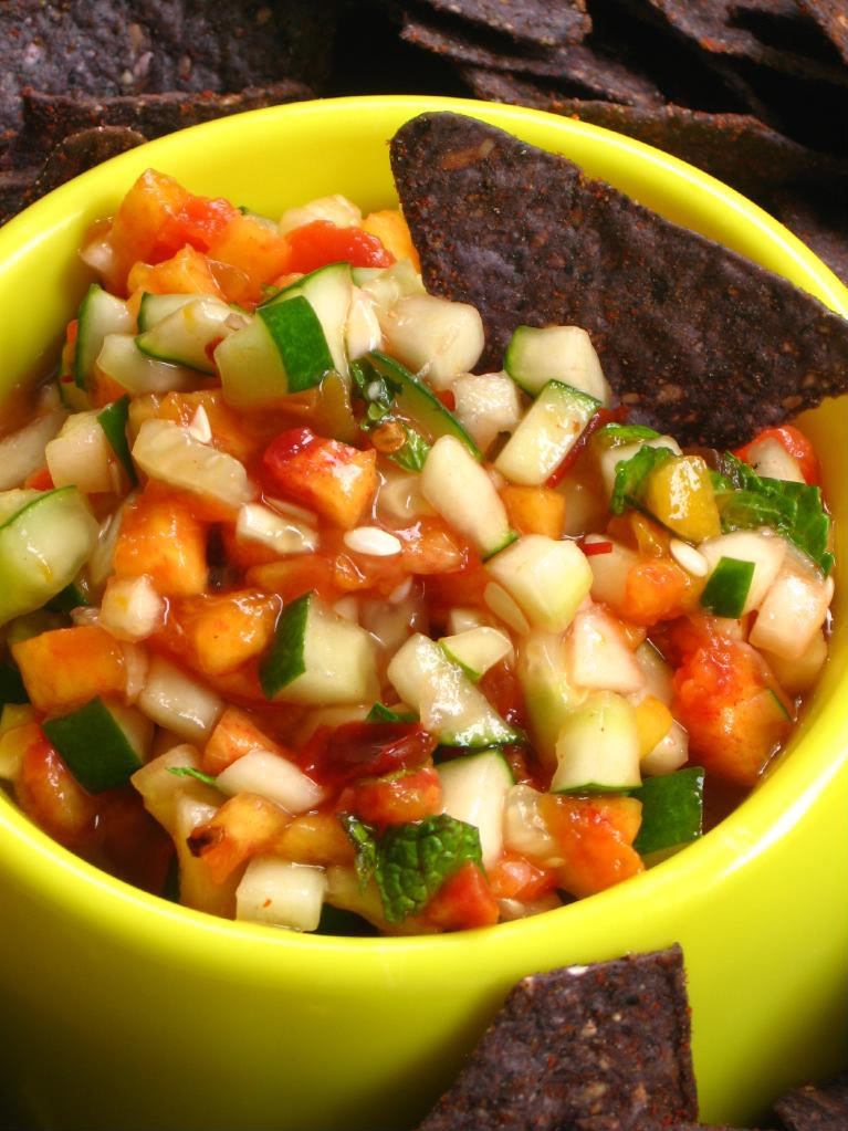 Spicy Peach and Cucumber Salsa by Willow Bird Baking
