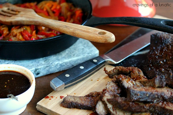 steak fajita ingredients ingredients spread out on a table.