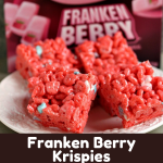 Franken Berry Krispies collage image featuring two photos of finished krispies