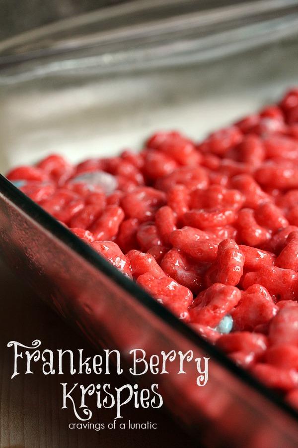 Franken Berry Krispies in a pan