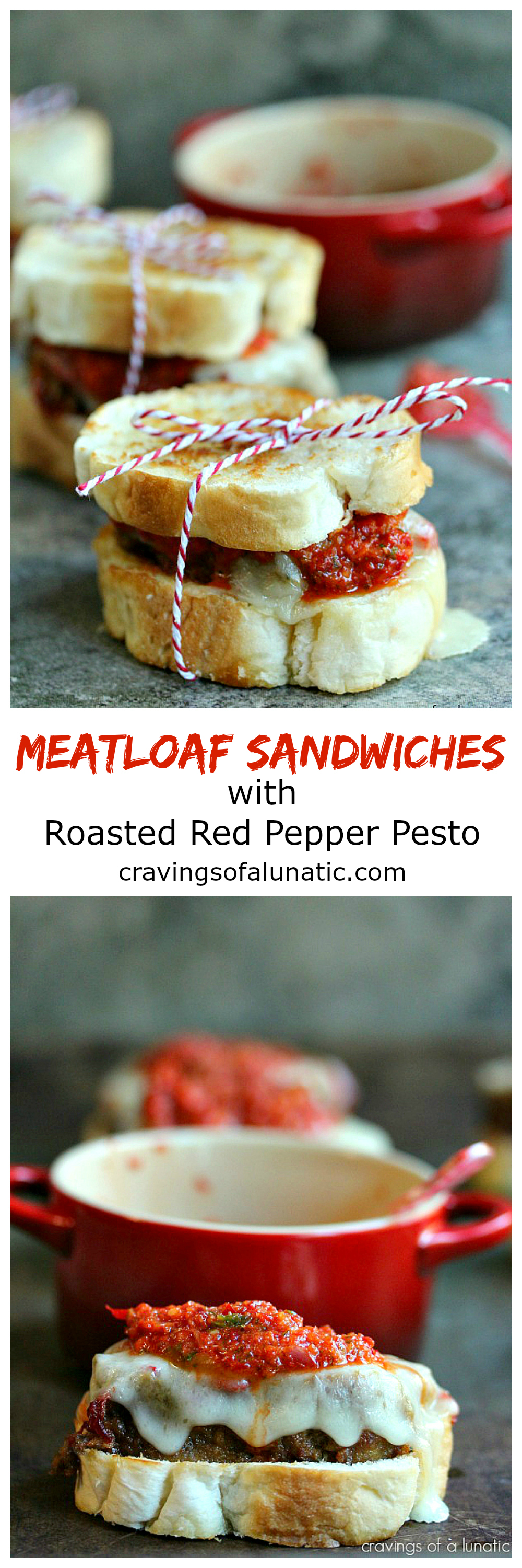Mini Meatloaf Sandwiches with Red Pepper Pesto from cravingsofalunatiic.com- Start with meatloaf packed with roasted red peppers, then make mini sandwiches topped with BBQ Sauce, Provolone Cheese and Red Pepper Pesto. Perfect for game day. (CravingsLunatic)
