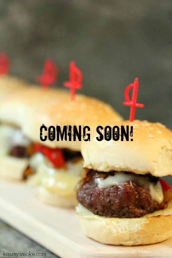 Planked Beef Sliders with Provolone, Roasted Red Peppers and Caramelized Onions Coming Soon