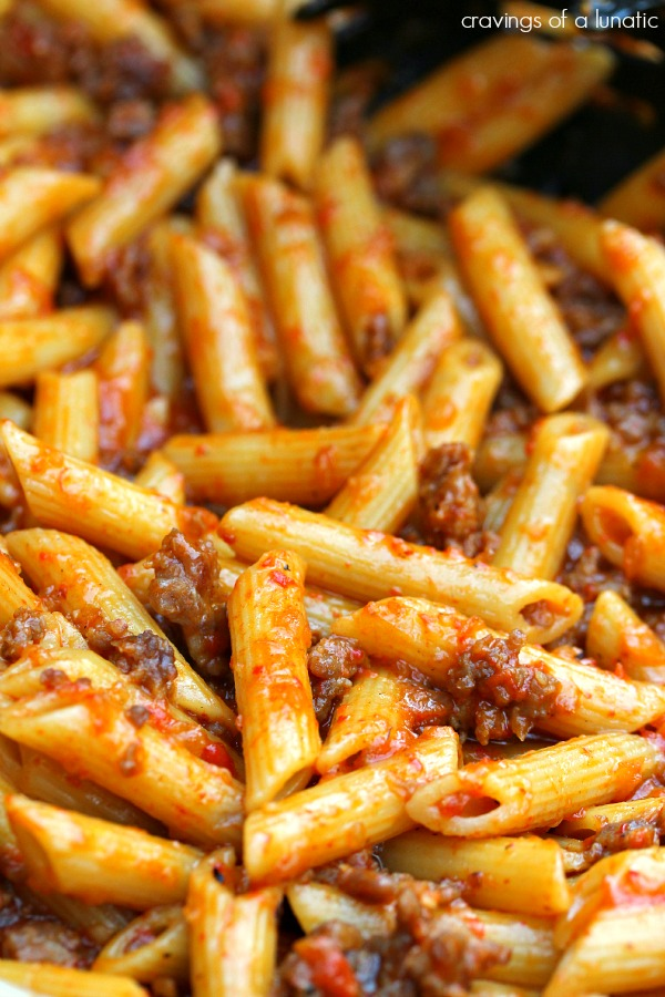 Roasted Red Pepper and Italian Sausage Pasta close up image