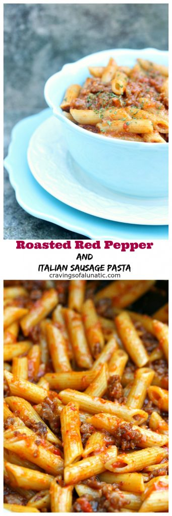 Roasted Red Pepper and Italian Sausage Pasta is super easy to make and packed with flavour. The addition of Italian Sausage makes this incredibly filling!