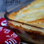 Sloppy Joe Casserole cooked in a glass casserole dish.