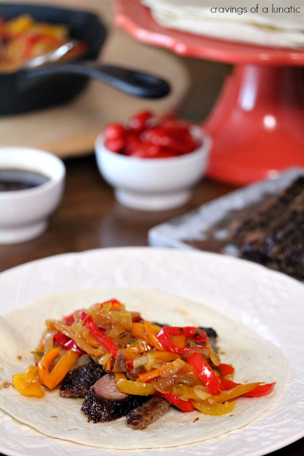 Steak Fajitas with Drunken Peppers | Cravings of a Lunatic | Simple recipe for an amazing dinner. This is our new favourite!