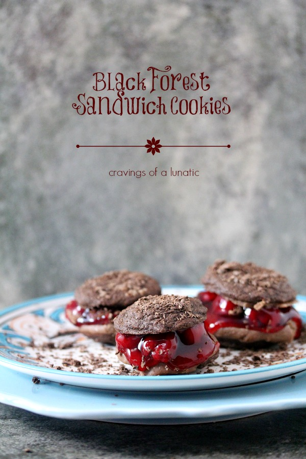 Black Forest Sandwich Cookies from cravingsofalunatic.com- Easy to make Black Forest Sandwich Cookies. These chocolate cookies are stuffed with cherry pie filling and cream. It doesn't get any better than this!