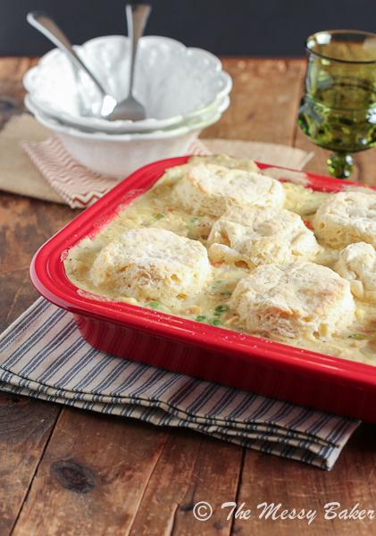 Chicken & Biscuit Pot Pie Casserole by The Messy Baker