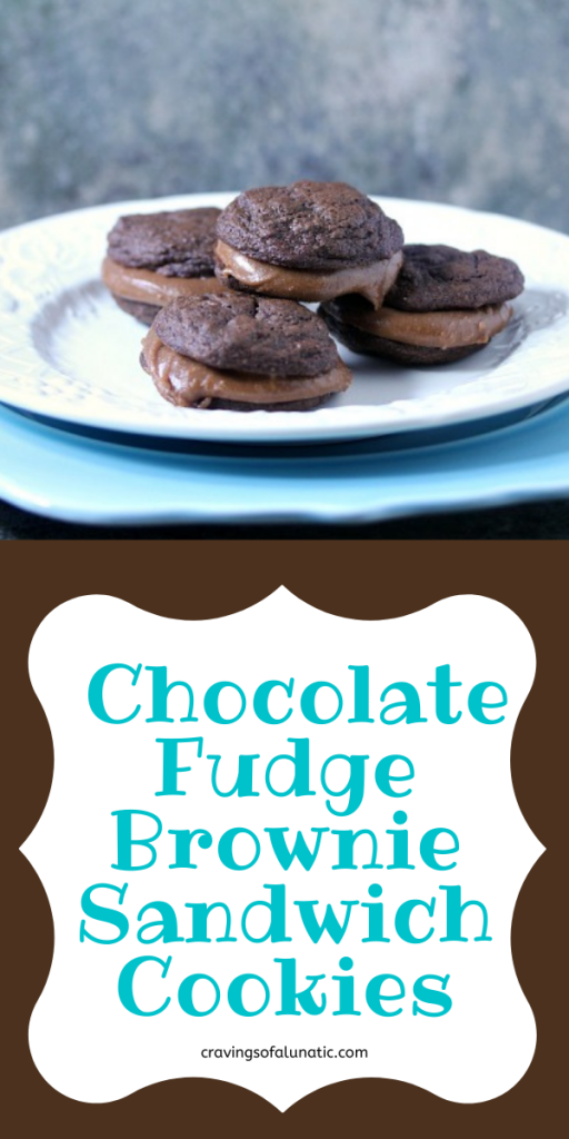 Chocolate Fudge Brownie Sandwich Cookies stacked on a plate.