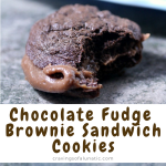 Chocolate Fudge Brownie Sandwich Cookies collage image featuring finished cookies on a plate