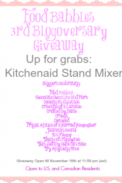 Food Babbles 3rd Blogiversary Giveaway | KitchenAid Stand Mixer Giveaway