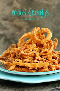 Onion Strings cooked to perfection and served on a colourful platter.