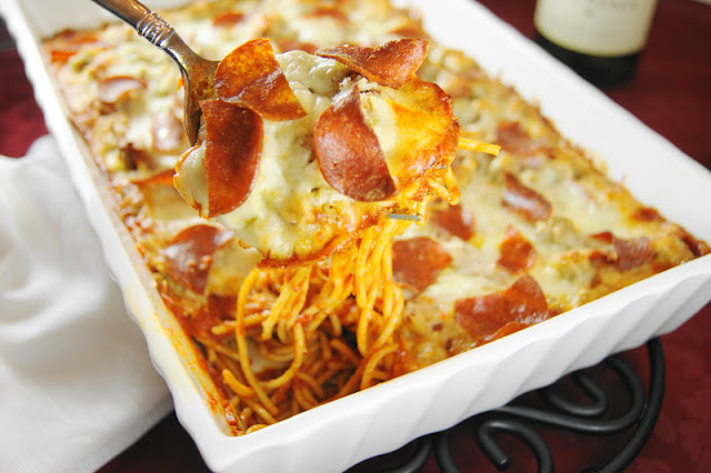 Pizza Spaghetti Bake by The Kitchen is my Playground