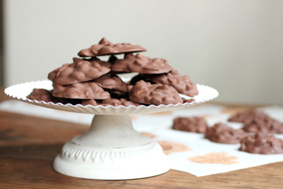 Triple Chocolate Peanut Clusters by Vintage Kitchen Notes