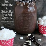 Coconut Hot Chocolate with Chocolate Covered Spoons