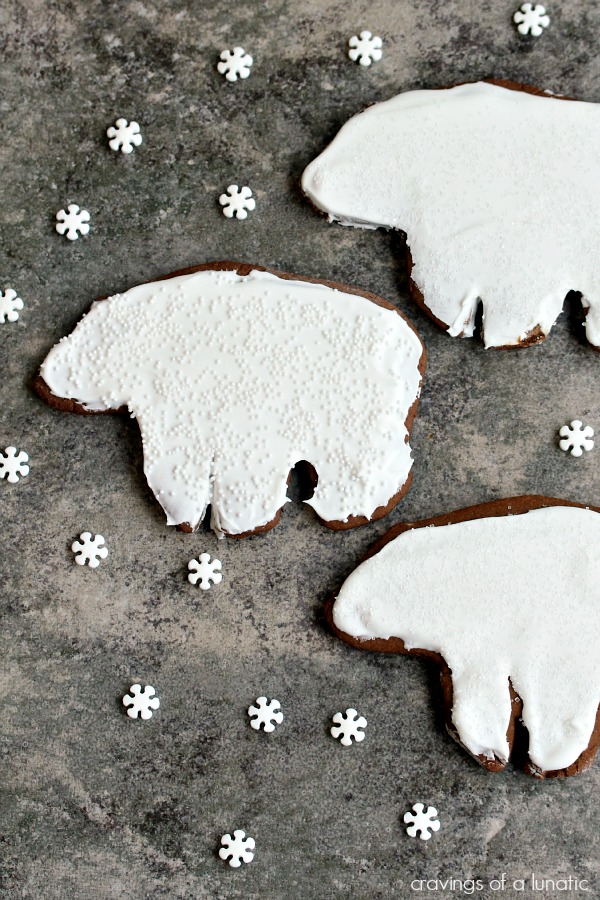 Ginger Bears | Cravings of a Lunatic | Cute little gingerbread polar bears. Cute and festive!
