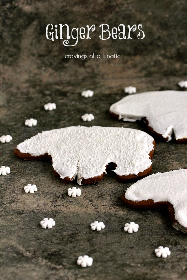Gingerbread Polar Bear Cookies on a dark surface.