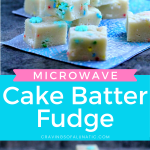 Microwave Cake Batter Fudge stacked on a napkin.