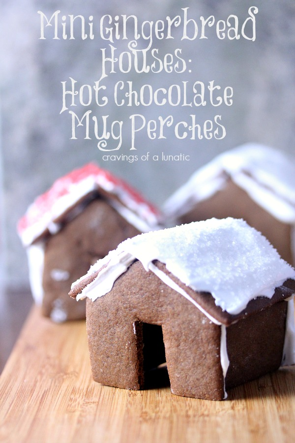 Mini Gingerbread House Hot Chocolate Mug Perches | Cravings of a Lunatic | Cute little mini gingerbread house. Perfect for the holidays!