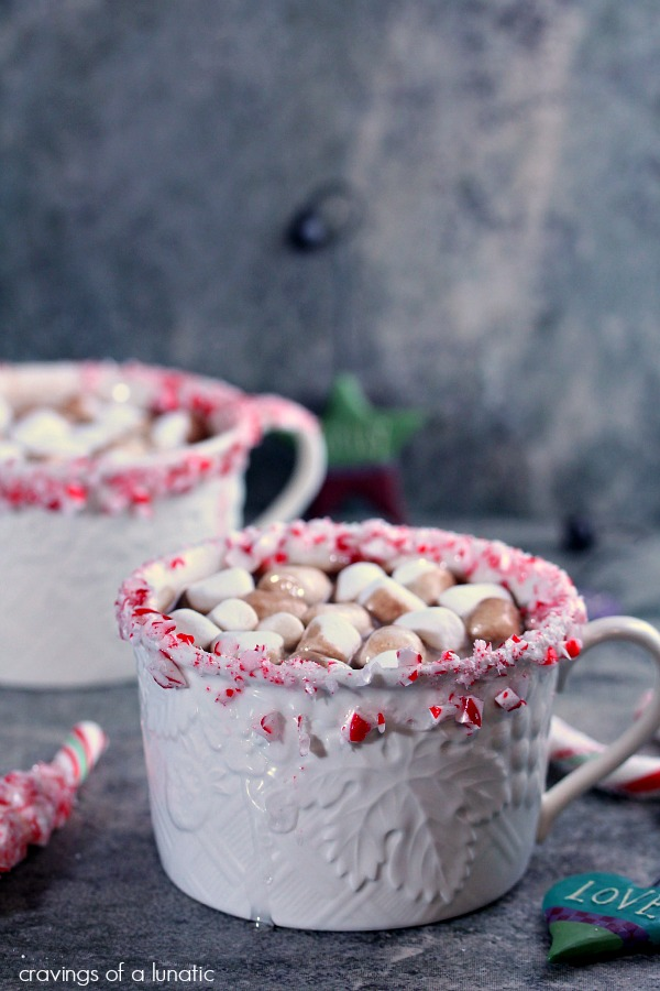 Peppermint Flavoured Hot Chocolate with Peppermint Wands served in white mugs.