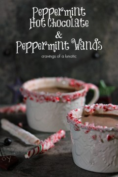 Peppermint Flavoured Hot Chocolate with Peppermint Wands served on a dark surface.