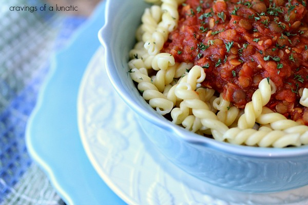 Lentil Quinoa Bolognese Sauce | Cravings of a Lunatic | Vegan version of bolognese sauce that is both hearty and delicious.