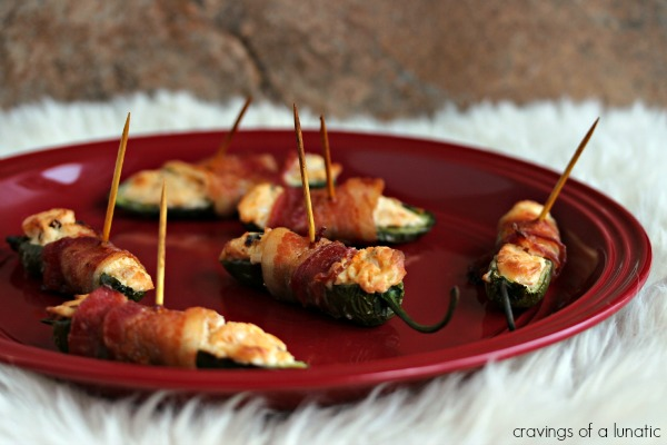Jalapeno Bacon Poppers served on a red plate