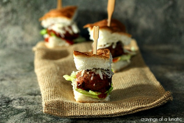 Meatball Bites | Cravings of a Lunatic | Cute little meatball slider bites would be perfect for any game day celebration. Easy to make and a real crowd