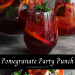 Punch served in a glass pitcher and wine glasses