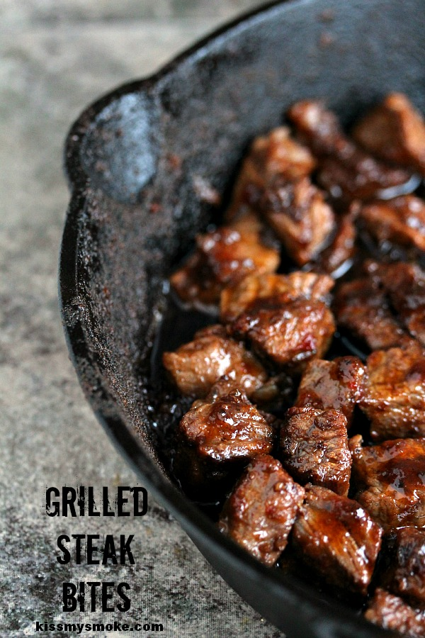 Steak Bites- Perfectly easy to make grilled steak bites. Seriously scrumptious and perfect for Tailgating Time! Featured on cravingsofalunatic.com