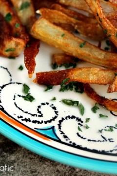 Garlic Fries served on a platter.