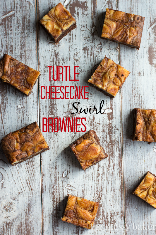 Turtle Cheesecake Swirl Brownies from The Messy Baker | Featured on Cravings of a Lunatic's Burning Down The Kitchen Series