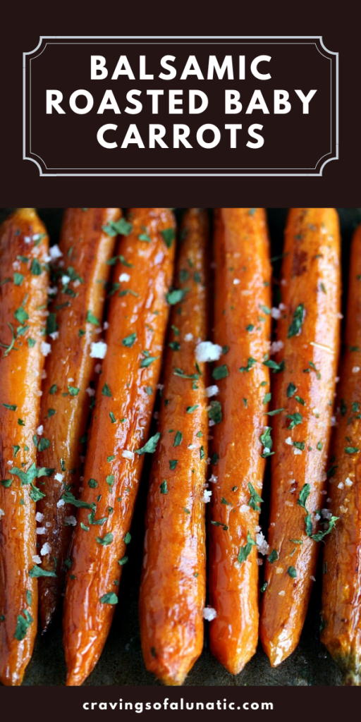 Balsamic Roasted Baby Carrots overhead close up image.