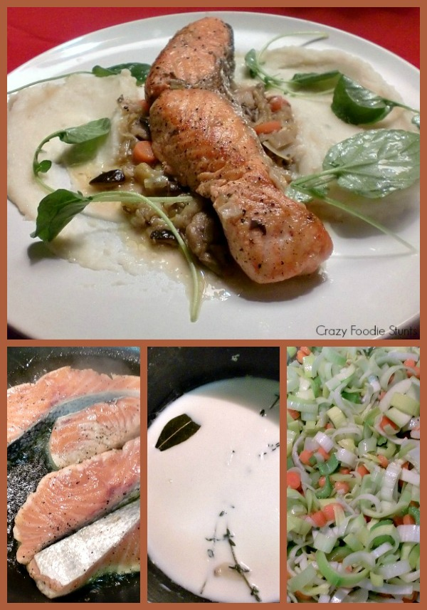 Braised Salmon with Mushrooms, Potato Purée and Watercress Collage by Crazy Foodie Stunts