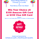 Bloggy Birthday Giveaway | $350 Amazon Gift Card or Visa Gift Card
