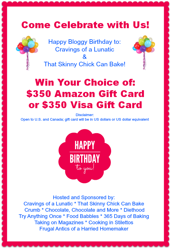 Bloggy Birthday Gift Card Giveaway | $350 Dollar Amazon or Visa Gift Card | Open to U.S. and Canada | Cravings of a Lunatic