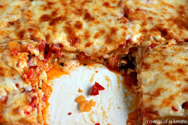 Roasted Red Pepper Lasagna from cravingsofalunatic.com- This meatless pasta recipe is full of flavour and incredibly easy to make. This is a fun twist on lasagna.