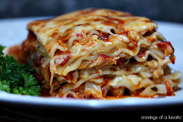 Roasted Red Pepper Lasagna served on a blue plate.